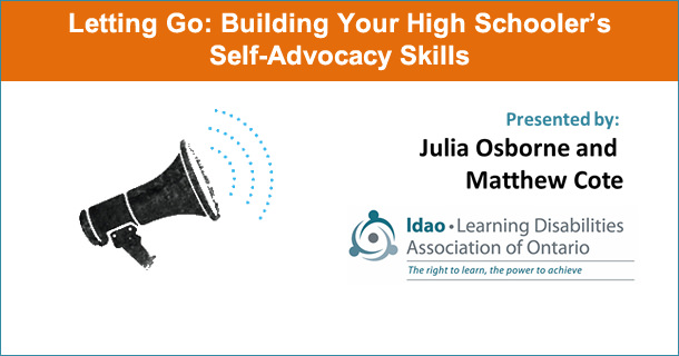 Letting Go: Building Your High Schooler's Self-Advocacy Skills